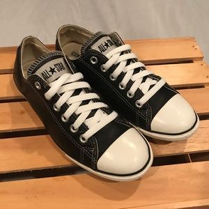 Converse All Star Black Leather Low Women 8 Men 6